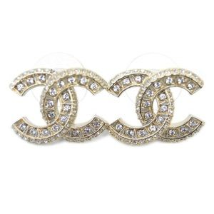 Authentic Chanel Crystals CC Logo Earrings GHW